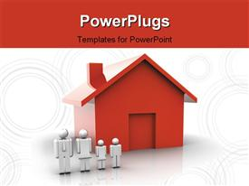 Family people standing near a red house powerpoint design layout