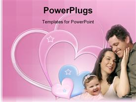 PowerPoint template displaying family together, smiles, laughter, affection in the background.