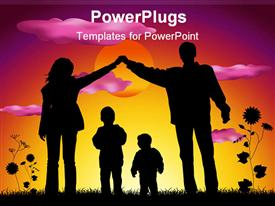 PowerPoint template displaying family with two children making house silhouette in the background.