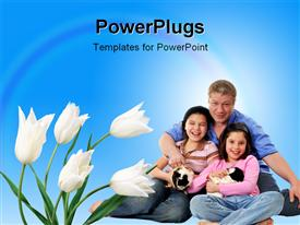PowerPoint template displaying family enjoying with their pets and flowers