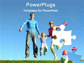 PowerPoint template displaying fly happy family puzzle in the background.