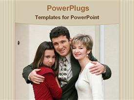 PowerPoint template displaying girl with her parents