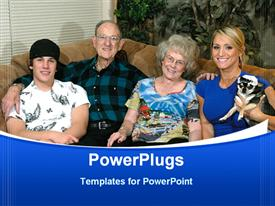 PowerPoint template displaying grand Parents with the Grand Kids