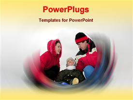 PowerPoint template displaying happy family in the background.