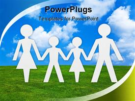PowerPoint template displaying happy Family concept and abstract nature background