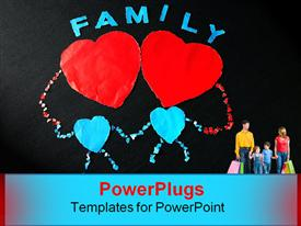 PowerPoint template displaying happy family were created by tearing paper