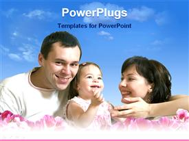 PowerPoint template displaying happy family enjoying under the sky in the background.
