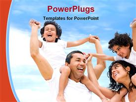 PowerPoint template displaying happy family having fun outdoors while on vacation in the background.