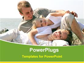 PowerPoint template displaying happy family in outdoor in the background.