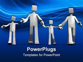 PowerPoint template displaying happy family white figures with two kids in blue background