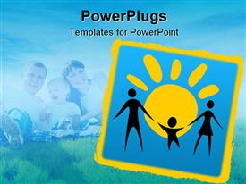 PowerPoint template displaying happy family silhouettes on a sun background