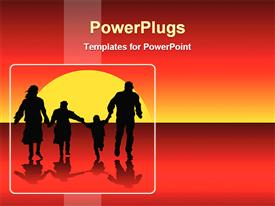 PowerPoint template displaying happy family depiction with sunset view in the background.
