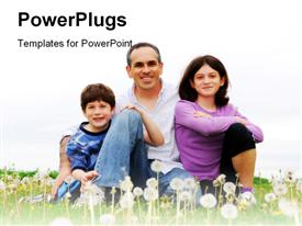 PowerPoint template displaying happy family of three on green grass in the background.
