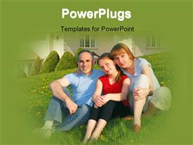 PowerPoint template displaying family relaxing on the lawn with their house