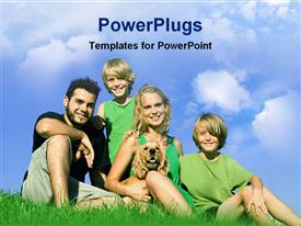 PowerPoint template displaying happy family under the sky in the background.