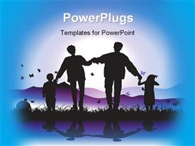 PowerPoint template displaying happy family walks on nature sunset in the background.