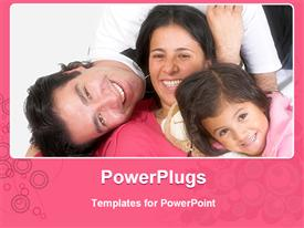 PowerPoint template displaying happy Latin American family in the background.