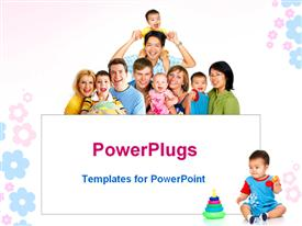 PowerPoint template displaying happy smiling families in the background.