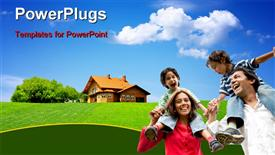 PowerPoint template displaying happy family enjoying in the garden with house and nature