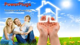 Human hands holding model of a house against nature background powerpoint template