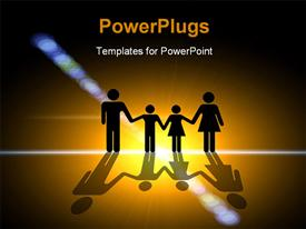 PowerPoint template displaying light. Family silhouette in the center of the light in the background.