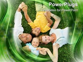 PowerPoint template displaying lying family with two children on grass in the background.