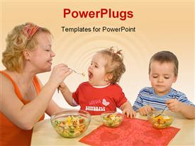 PowerPoint template displaying mother and children - boy and girl - eating healthy fruit salad in the background.