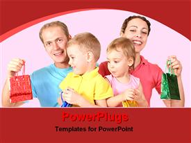 PowerPoint template displaying parents with their babies with bags
