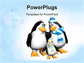 PowerPoint template displaying penguin parents looking all lovely dovey at each other. baby penguin has pacifier in beak