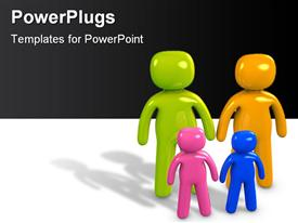 PowerPoint template displaying colorful family figures with two kids in white background