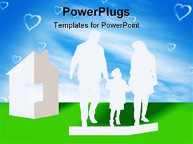PowerPoint template displaying silhouettes of the parents and children from a paper