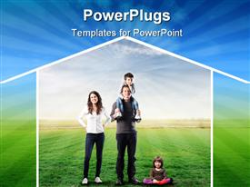 Smiling family standing on a green field and surrounded by the form of a house powerpoint design layout