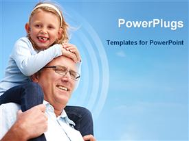 PowerPoint template displaying an elderly mn carrying a small girl on his shoulders