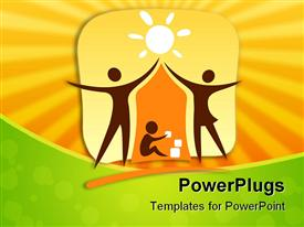 PowerPoint template displaying stylized symbol of parents and child on a yellow background