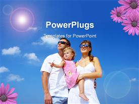 PowerPoint template displaying happy family hanging out with summer environment and flowers
