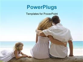 PowerPoint template displaying young family having fun on the beach with blue color