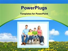 PowerPoint template displaying happy family in the new home with nature