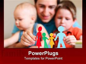 PowerPoint template displaying young father with his two kids holding figures of multicolored paper family in the background.