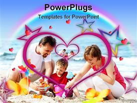 PowerPoint template displaying young happy family on the beach - family lifestyle portrait in the background.