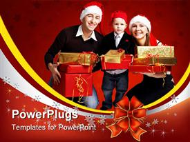 PowerPoint template displaying happy young family of three wearing smart casual clothes