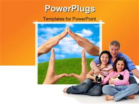 PowerPoint template displaying female hands showing home sign family house concept sky grass background