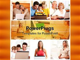 PowerPoint template displaying people working with laptops at home. Computer