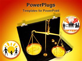 PowerPoint template displaying conceptual depiction of the job and family out of balance in a busy and stressful world using a brass in the background.