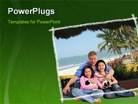 PowerPoint template displaying family enjoying their pet at beach with trees