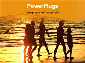 PowerPoint template displaying family group walking along beach together at sunset in the background.