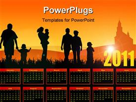 PowerPoint template displaying family calendar 2011 with young people going to church in the background.