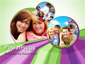 PowerPoint template displaying happy family lying on the grass and looking at camera in the background.