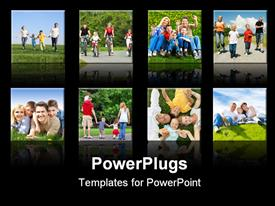 PowerPoint template displaying collage of smiling families doing different activities with black background