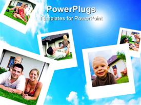 PowerPoint template displaying depictions of a happy family flying on blue sky in the background.