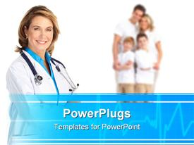 PowerPoint template displaying smiling family medical doctor and family with children in the background.